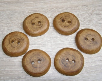 "6 Handmade  oak wood buttons, accessories (1,5"" diameter x 0,28"" thick)"