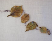 Ceramic Autumn Leaves Wall Hanging  - Made with Four Real Leaves - Decorative Leaf String - Leaf Impression Patterns-Tumbling Clay Leaves