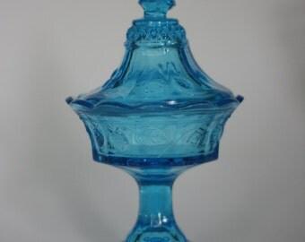vintage blue glass pedestal candy dish