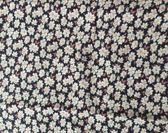 Brown Floral Rayon Challis Fabric Yardage Destash