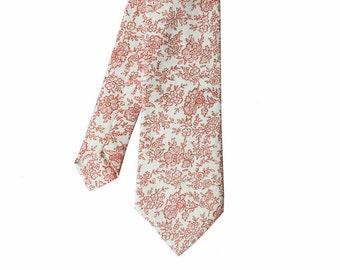 Jasmine - White/Red Floral Men's Tie