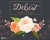 Delicate Bouquet: Autumn Flowers, Fall Clip Art, Watercolor Florals, Handpainted Flowers, Floral  Clipart, Watercolor Bouquet