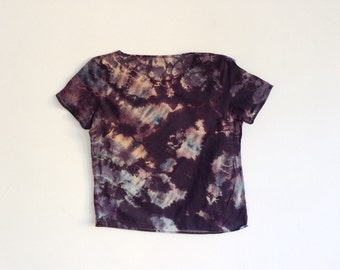 Black and Multicolor Hand Dyed Mineral Tee - XS/S