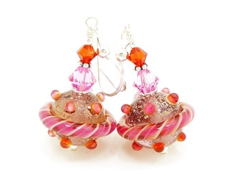 Pink Orange Earrings, Swirl Ribbon Earrings, Lampwork Earrings, Glass Earrings, Beadwork Earring, Unique Earrings, Lampwork Jewelry