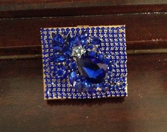 Blue jeweled rhinestone compact 3 inches, altered