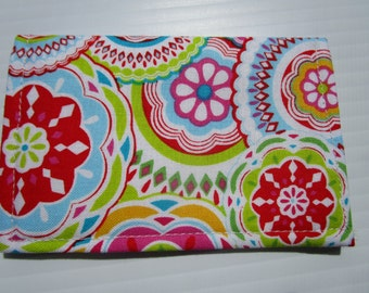 Business Card Wallet, Credit Card Wallet, card wallet, slim wallet, card case, fabric wallet, Medallions and Flower, Vera Bradley Inspired