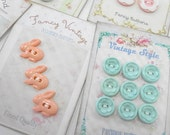 Spring Fling Ultimate Carded Buttons Set lot (9) Each Pastel Baby Doll Pink Aqua White Button Cards Keepsake Gift Party Favor Decorations
