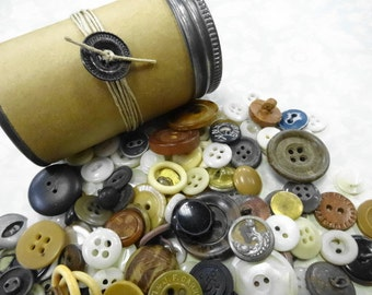 Antique Shabby Primitive Big Mix Variety Old Prim Sewing Buttons Country Farmhouse Decoration Crafting Supplies