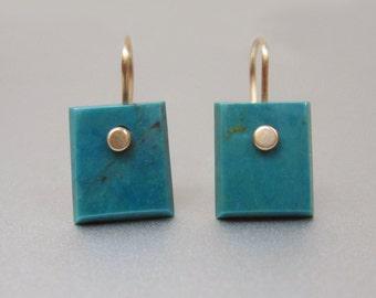 Arizona Turquoise Rectangular Drops Solid 14k Gold Earrings