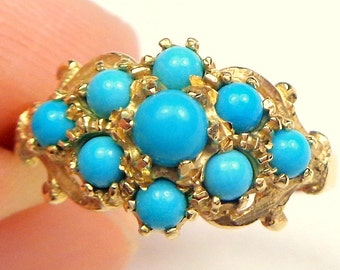 9ct Gold, Turquoise Ring, Yellow Gold, Victorian Style, Gatsby Era Ring, Vintage Gold Ring, Estate Jewelry