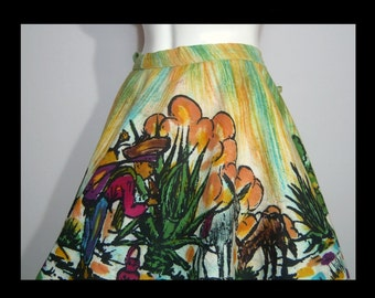 Colorful 1950s hand painted Mexican circle skirt ~ Large XL gold green ~ painting of man burros donkeys cactus house ~ side ties