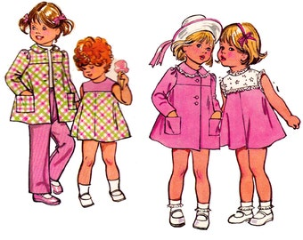 70s Baby Toddler Girls A Line Dress Coat Pants Pattern Simplicity 5436 Retro Kids Vintage Sewing Pattern Size 1 Breast 20 inches