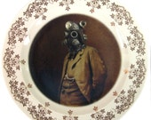 SALE - Dr. SteamPunk Portrait - Altered Vintage Plate 7.25""