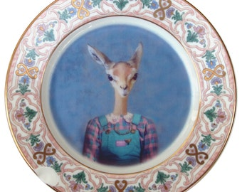 "SALE - Meredith the Gazelle - Altered Retro Plate 8.15"" - DAMAGED"