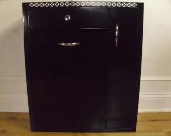 Vintage 1950's/1960's  Black Metal Hamper/Cabinet