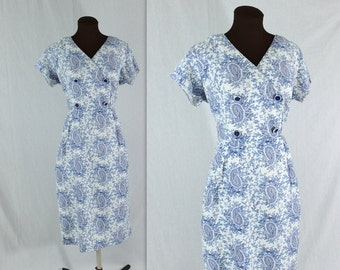Vintage 1950's Blue and White Paisley Wiggle Dress
