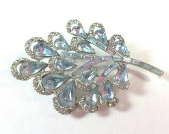 Silver Metal Organic Form Baby Blue Rhinestones Brooch Pin Unsigned