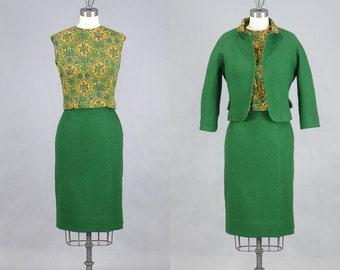 1950s Green Wool Suit, 50s Suit, 1950s Pencil Skirt, 3pc Dress Suit, XS