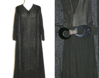 SALE 1920s Dress, Art Deco Flapper Dress, Vintage 20s Dress with Soutache Trim and Buckle Embellishments, Large