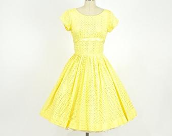1950s Yellow Party Dress, 50s Dress, Tea Length Buttercup Dress Small