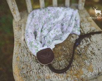 Double Sided Green and Purple Lace Floral Camera Strap