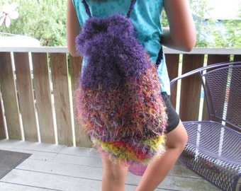 Backpack by SuzannesStitches, Fun Fur Backpack, Purple Backpack, Teen Backpack, Rucksack, Crochet Handbag, Fur Backpack, Backpack Purple
