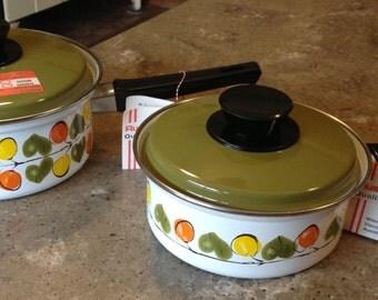 Retro Mod Enamel Pan Set Vintage Austria Cookware Orange Yellow Avacado Green 4 Piece Enamelware Set UNUSED
