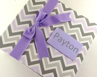 Personalized Photo Album Baby Book Girl Custom Photo Book gray purple chevron 4x6 5x7 8x10 Pictures