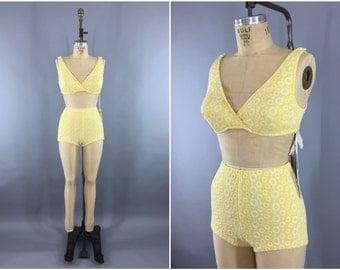 Vintage Itsy Bitsy Teeny Weeny Yellow Polka Dot Bikini Swimsuit / 1960s Swimming Suit / 60s Two Piece / Size Small S Medium M