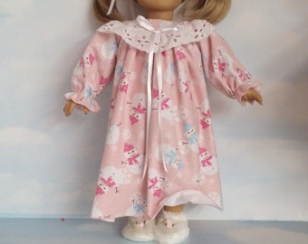 S A L E - 18 inch doll clothes - #500 Pink Snowman Nightgown made to fit the American Girl Doll