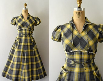 1950s Vintage Dress - 50s Yellow & Grey Plaid Cotton Dress