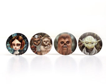 Star Wars Stickers Set - 4 Princess Leia, Yoda, Chewbacca and Ewok Family pop surrealism geek girl illustration stickers by Mab Graves