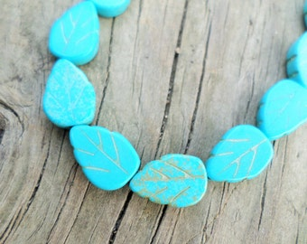 Turquoise Magnesite Carved Leaf Beads 14x8mm 16 Inch Strand