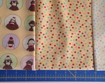 Yellow sock monkey fabric