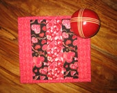 Valentine's Day Mug Rug, Pink Red Hearts, Quilted Snack Mat, Table Mat, Large Coaster, Handmade Snack Mat, Heart Mug Rug