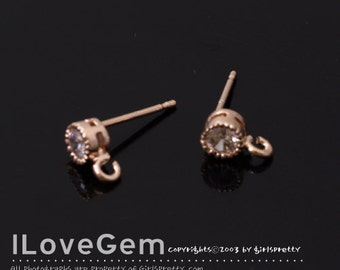SALE/ 20pcs / P433 Nickel free Rose Gold plated, 4mm Cubic zirconia earring, 925 sterling silver post / Rose gold Earrings, rose gold studs