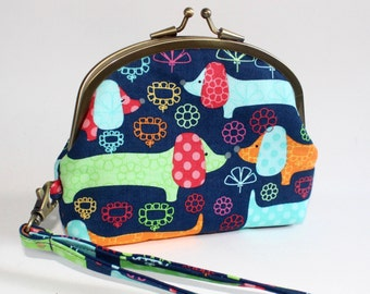 Double Frame Wristlet in Navy with Colorful Doxies, Dachshunds, Hot Dogs, Wiener Dogs