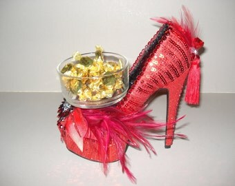 Shoe Candy Dish Red Sequin Platform