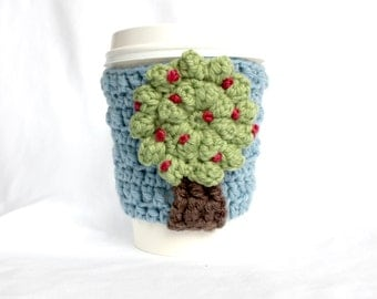 Cherry Tree travel mug cup cozy coffee crochet blue