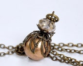 Bronze Ball Bead Pendant Necklace, Light Topaz Crystal Necklace, Champagne Crystal, Antique Brass Filigree, Gem Cut Glass, Bridesmaid Gift