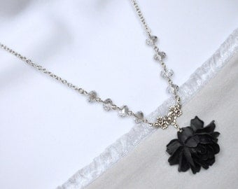 Black Rose Necklace, Black Flower Necklace, Antique Silver Rose Necklace, Grey Crystal Bead Necklace, Silver Flower Necklace, Statement Goth