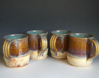Hand thrown stoneware pottery mugs set of 4  (M-27)