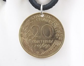 French Coin Necklace, 20 Centimes, Coin Pendant, Leather Cord, Mens Necklace, Womens Necklace, Birth Year, 1969