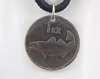 Fish Coin Necklace, Iceland 1 Krona, Coin Pendant, Leather Cord, Mens Necklace, Womens Necklace, 1999