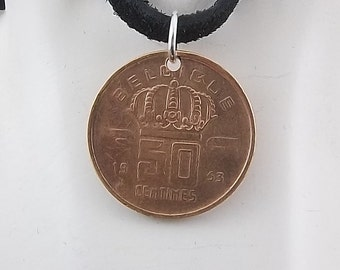 Belgium Coin Necklace, 50 Centimes, Coin Pendant, Mens Necklace, Womens Necklace, Leather Cord, Birth Year, 1953