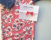 3-6 months baby girl gown and headband set. Coral and navy with a matching coral felt bow headband