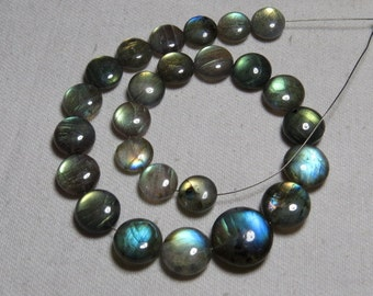 Labradorite - High Quality - AAAA - Smooth Polished Coin shape Briolletes so Amazing Gorgeous Multy Fire Huge size - 9 - 13.5 mm - 25 pcs