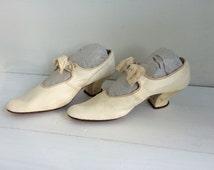 20s Shoes White Antique Heels Bridal Wedding Bride Vintage 5 6
