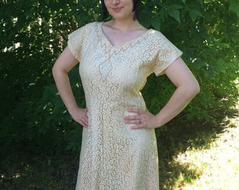Ivory Lace Gown Full Length Dress Wedding Bridal Formal Cocktail 50s Vintage XL Plus