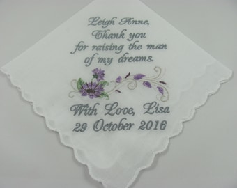 Personalized Mother of the Groom Embroidered Wedding Handkerchief Mom of the Groom Wedding Gift Keepsake Lake Hanky by Simply Sweet Hankies